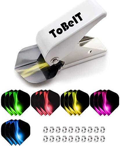 ToBeIT Flight Perforadora con Plumas para Dardos Juego y Shaft Federringe-Anillos-slotma Chino Plumas Accesorios