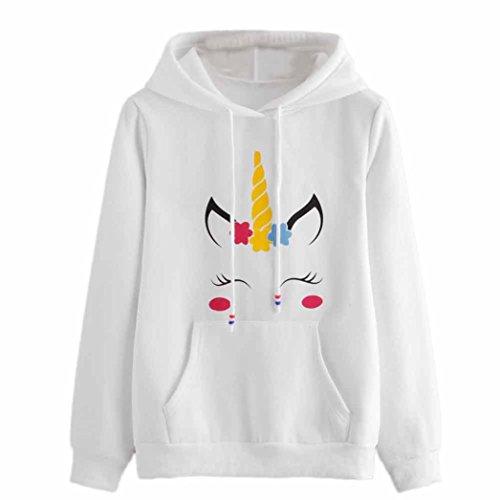 ASHOP Mujer Sudaderas, Deportivas Manga Larga Blusa Tops Corto Casual Sweatshirt Primavera y Otoño Invierno Sudadera con Estampado de Unicornios (S, Blanco)