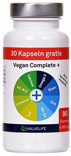 Vegan Complete+ -- Veganes Calcium, Leinsamenpulver, DHA Omega 3, Eisen, Zink, Iod, Vitamin D und Vitamin B12. Speziell entwickelt zur Begleitung einer veganen Ernährung! 90 Kapseln à 583mg