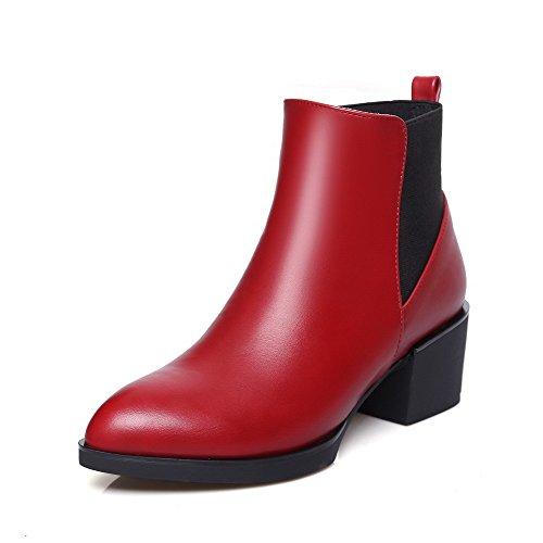 AllhqFashion Damen Naht Blend-Materialien Mittler Absatz Ziehen Auf Spitz Zehe Stiefel Rot