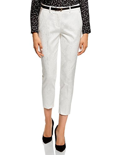 oodji Collection Donna Pantaloni in Jacquard con Cintura, Bianco, IT 44 / EU 40 / M