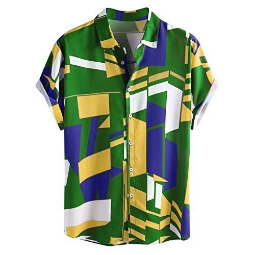 Geometrischen Print-Ärmellos (BHYDRY Mens Kontrastfarbe Geometrisch Bedruckt Umlegekragen Kurzarm Lose Shirts(Medium,Grün)