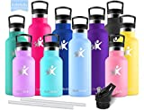 KollyKolla Vakuum-Isolierte Edelstahl Trinkflasche, 500ml BPA-frei Wasserflasche mit Filter, Thermosflasche für Kinder, Mädchen, Schule, Kindergarten, Sport, Wandern, Camping, Outdoor, Blau Lila