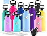 KollyKolla Botella de Agua Acero Inoxidable, Termo Sin BPA Ecológica Reutilizables, Botellas Termica con Pajita y Filtro, Water Bottle para Niños Deporte, Oficina, Yoga, (750ml Macaron Azul)