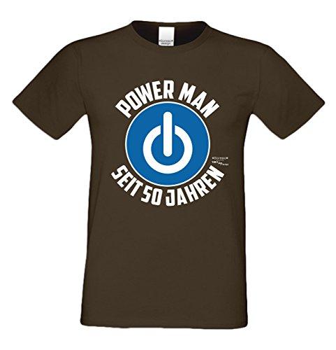 Für Männer Geschenk zum 50. Geburtstag Herren T-Shirt als Geschenkidee für Ihn zum runden Geburtstag Powerman seit 50 Jahren auch Übergrößen 3XL 4XL 5XL , Farbe: braun Braun