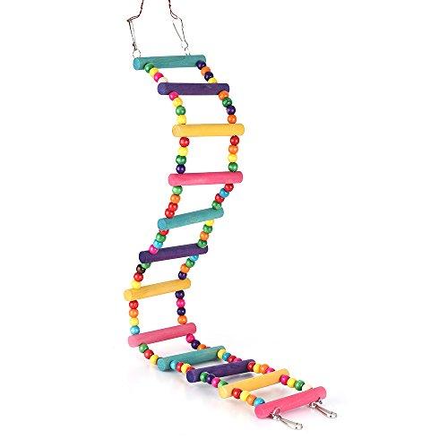 Decdeal Vogel Leiter Flexible Leitern Vogel Spielzeug aus Holz Bunt (Aufstieg Langen)