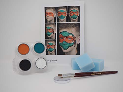 Jannes Premium Kinderschminke Set Ninja Turtle Hochwertige Profi-Schminkpalette zum Kinderschminken mit Water-Makeup, Anleitung, Pinsel & Schwämmchen
