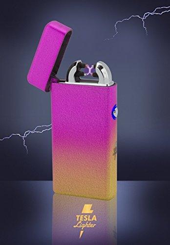 Tesla-Lighter T08 | Lichtbogen Feuerzeug, Plasma Double-Arc, elektronisch wiederaufladbar, aufladbar mit Strom per USB, ohne Gas und Benzin, mit Ladekabel, in edler Geschenkverpackung, Mixed Orange