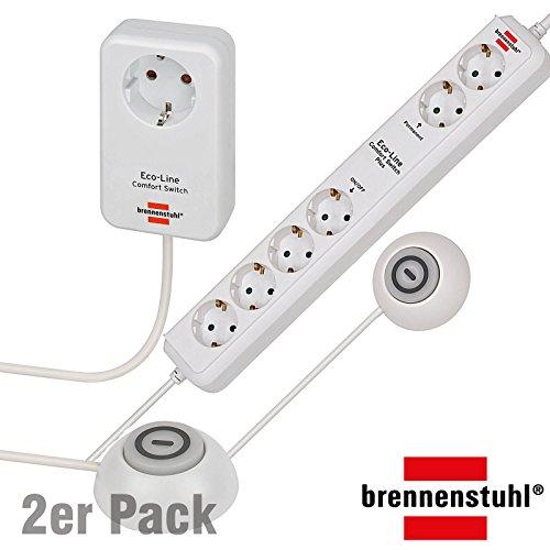 Brennenstuhl ECO Line Comfort Switch Adapter El CSA 1 Beleuchteter Hand-/Fußschalter, 2 Stück, inkl. 2 Steckdosenleisten Comfort Switch Plus
