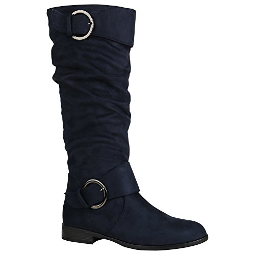 Klassische Damen Schuhe Stiefel Veloursleder-Optik Boots Leicht Gefüttert 152255 Dunkelblau Avelar 38 Flandell