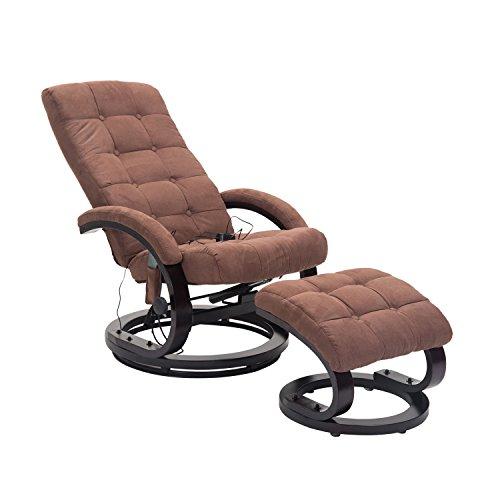HOMCOM® Massagesessel TV Sessel Relaxsessel mit Hocker Fernsehsessel mit Heizfunktion und Vibration 2 Farben (Braun)