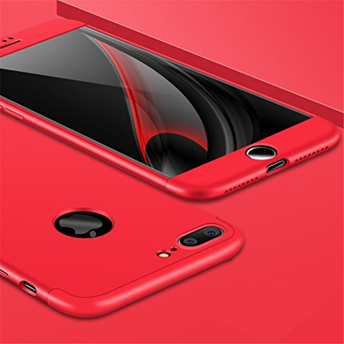 iPhone 7 Plus Case, Heyqie 360 Degree Full Protection 3 in 1 Ultra Slim Anti-Scratch Shockproof Smoothly Protective Hard PC Cover Case For Apple iPhone 7 Plus 5.5, Black Red