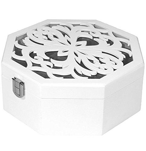 Holz Schmuck Box Display Case/Schrank/Schmuckkästchen Geschenk Weiß NEU