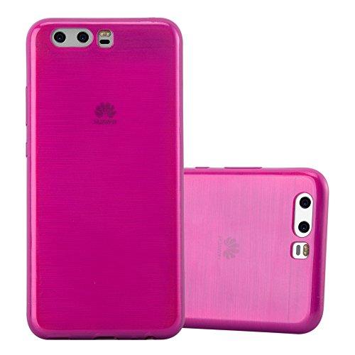 Preisvergleich Produktbild Cadorabo Hülle für Huawei P10 - Hülle in PINK - Handyhülle aus TPU Silikon in gebürsteter Edelstahloptik (Brushed) Silikonhülle Schutzhülle Soft Back Cover Case Bumper