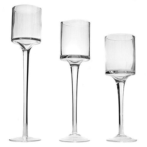 Maison & White Set di 3 candelabri e portacandele per candele da tè | Alto elegante design elegante vetro | Ideale per matrimoni, decorazioni per la casa, feste, impostazioni da tavola e regali