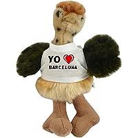 Avestruz personalizado de peluche (juguete) con Amo Barcelona en la camiseta (ciudad /
