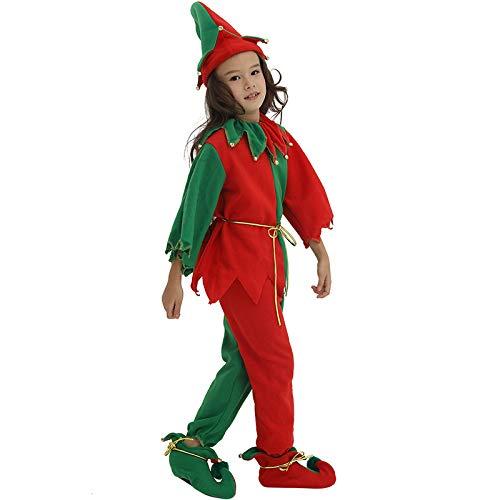 n Kinderkleidung, Elf Anzug, Kinder Anzug, Weihnachten Santa Claus Kostüm, Professionelle Weihnachtsmann Anzug Weihnachten Kleid 3 Größe,S ()