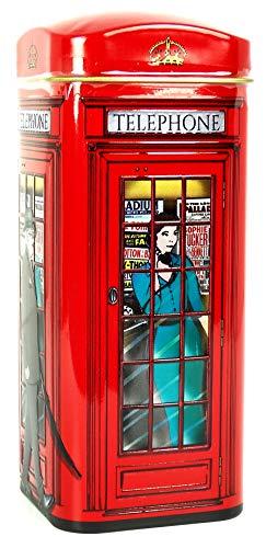 englishtea, London Red Telephone Box?Traditionelle English Tea in rot Telefon Spardose?HR18 - 2