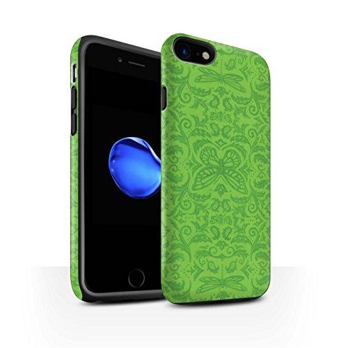 STUFF4 Matte Harten Stoßfest Hülle / Case für Apple iPhone 8 / Rot Muster / Insekten Muster Kollektion Grün