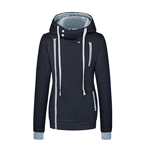 Zarlena Damen Kapuzenpullover Hoodie Frauen Sweater Zipper Sweatshirt Pullover Dunkelgrau