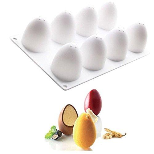 Silikon-Formen in 3 D für acht Ostereier, Geräte für die Kuchenverzierung, Backwaren, Form für französisches Desserts, Kuchenform, für das Cupcake Backen, Mousse-Form aus Silikon