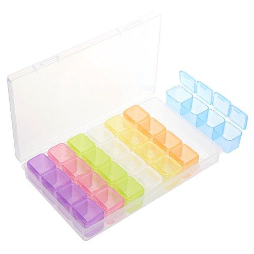 Organizer, Bunte Kleine Bead Aufbewahrungsboxen mit Deckel 28 Grids, Kunststoff Aufbewahrungsbehälter für die Schmuckherstellung, Tiny Zubehör Container Case (Kleine Container)