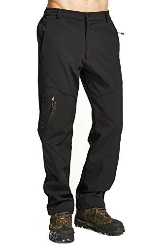 Mr.Stream Inverno Pantaloni Lunghi Softshell da Uomo Impermeabile A Prova di vento con Vello Interno Caldo Escursionismo Pants X-Large Black