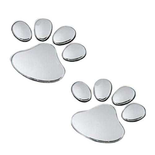 2Pcs Stylish Bear Paw Pet Animal Footprints Emblem Car Truck Decor 3D Stickers Decal Car Sticker