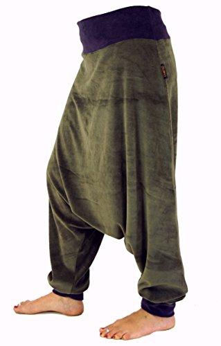 Guru-Shop Afghani Hose, Pluderhose, Goa Hose Aladinhose, Samthose, Damen, Baumwolle, Pluderhosen, Aladinhosen Alternative Bekleidung Olive