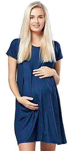 Happy mama donna camicia per parto prenatal prémaman allattamento ospedale. 434p (marina con motivo verde bottiglia, it 44/46, l)
