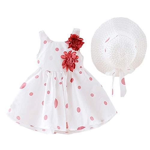 leider MäDchen Kleinkind dot Print Blume Prinzessin Kleid + Hut Kappe Kleidung Outfits ()