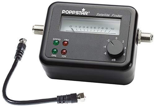 Poppstar Satfinder - Misuratore (max. 100 mA, 2 prese F, misuratore satellitare per la regolazione precisa di impianti satellitari, rilevatore satellitare con cavo coassiale da 17 cm