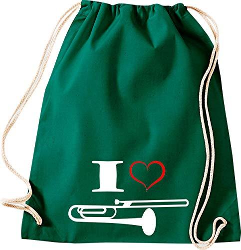 Shirtstown Turnbeutel Musik I Love Posaune Blassinstrument, Gruen