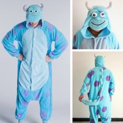 Image of Sully Monsters Inc Onsie Pyjamas Onesie Fancy Dress Costume Sleepsuit Unisex Mans Womens (Xl 180-190cm)