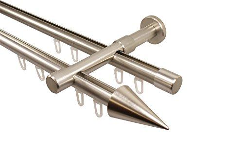 Edelstahl Optik Gardinenstange mit Innenlauf 2-läufig 20 mm Endstück Spitze, 240 cm (2 x 120 cm)