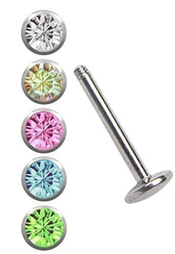Stahl Piercing Set, ein Labret mit 5 mm Platte in 1,6 x 6 mm + 5 farbigen Kugeln in 4 mm