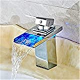 Grifo LED 3 Cambio de color RGB Square grifo de lavabo monomando...