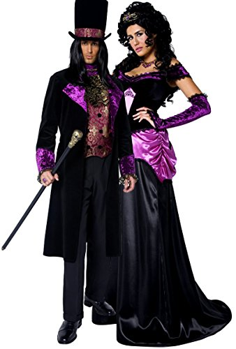 Paare Damen & Herren Gothic Zählen & Countess Vampire ausstich Vampirin voller Länge lang Halloween Fancy Dress Kostüm (Adult Halloween Paare Kostüm)