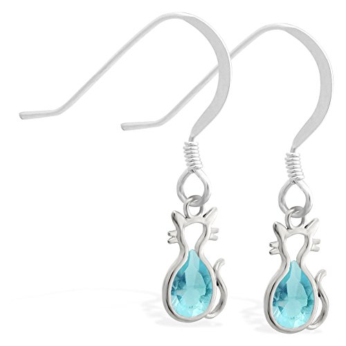 Sterling Silber Ohrringe mit kleinen Dangling Lab Erstellt Aquamarin Jeweled Katze Charme (Silber-lab Charme)