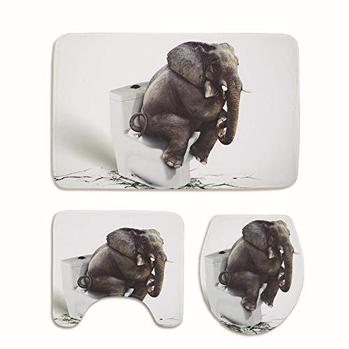 3-tlg. Badteppich-Set Toilettensitz Badezimmer-Fußmatte 3D-Elefanten-Stil Mikrofaser-Polyester-Weiche Rutschfeste - Rechteckige Teppich- / Deckel-Toilettenabdeckung/Badteppich - Elefanten-rechteckiger Teppich