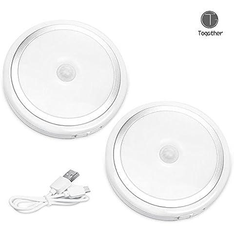 Togather® Luz y recargable lámpara de pared LED Motion Sensor luces del gabinete USB luz de la noche sin hilos de Pasillo Escaleras de baño Cocina Armario 2 pedazos / sistema - plata