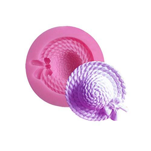 Shuda 1 Stück Silikonform für Fondant, Basteln, kleine Strohhut, Damen, Hut in Form von Schokolade, Kuchen, 3,2 cm