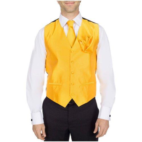 Buy Your Ties Herren Smoking Weste, Krawatte, Fliege und Einstecktuch, 4-teiliges Set - Gold - XL -