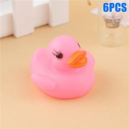Alftek 6 stücke Baby Gummi Bad Ente Spielzeug LED Blinklicht Wassersensor Baby Dusche Spielzeug Farbwechsel