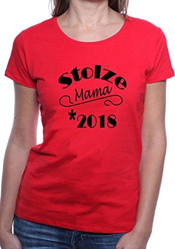 Mister Merchandise Ladies Damen Frauen T-Shirt Stolze Mama 2018 Tee Mädchen bedruckt Rot