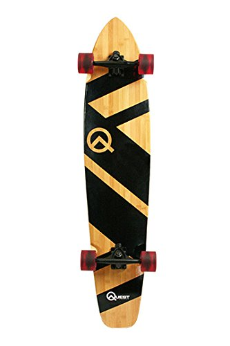 Quest Super Cruiser Longboard Skateboard, unisex, QT-NSC44C, Schwarz, 111,76 cm - Bambus-longboard Skateboard