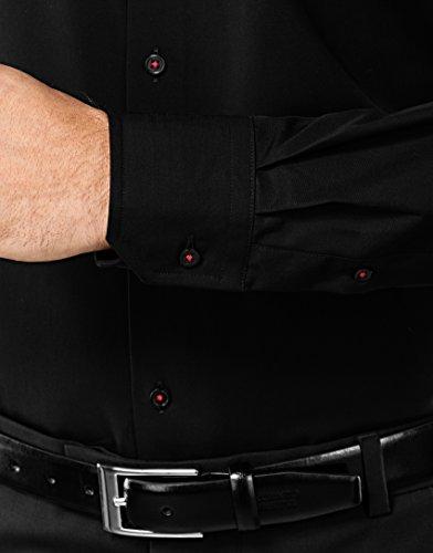 Vincenzo Boretti Herren-Hemd Bügelfrei 100% Baumwolle Slim-Fit Tailliert Uni-Farben - Männer Lang-Arm Hemden für Anzug mit Krawatte Business Hochzeit Freizeit Schwarz