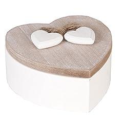Idea Regalo - 6H0698 Clayre & Eef - Scatola decorativa a forma di cuore - Naturale ca. 12 x 12 x 6 cm