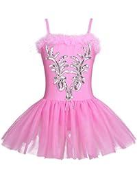 iEFiEL Vestido Maillot de Ballet Danza para Niña Chica (4-12 Años) Tutú