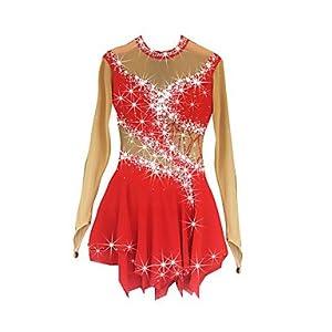 Heart&M Eiskunstlauf Kleid für Mädchen Rollschuhkleid Wettbewerb Kostüm Langärmliges Eiskunstlauf-Kleid Rot